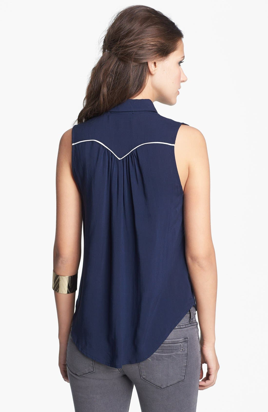 Alternate Image 2  - Elodie Embroidered Western Top (Juniors)