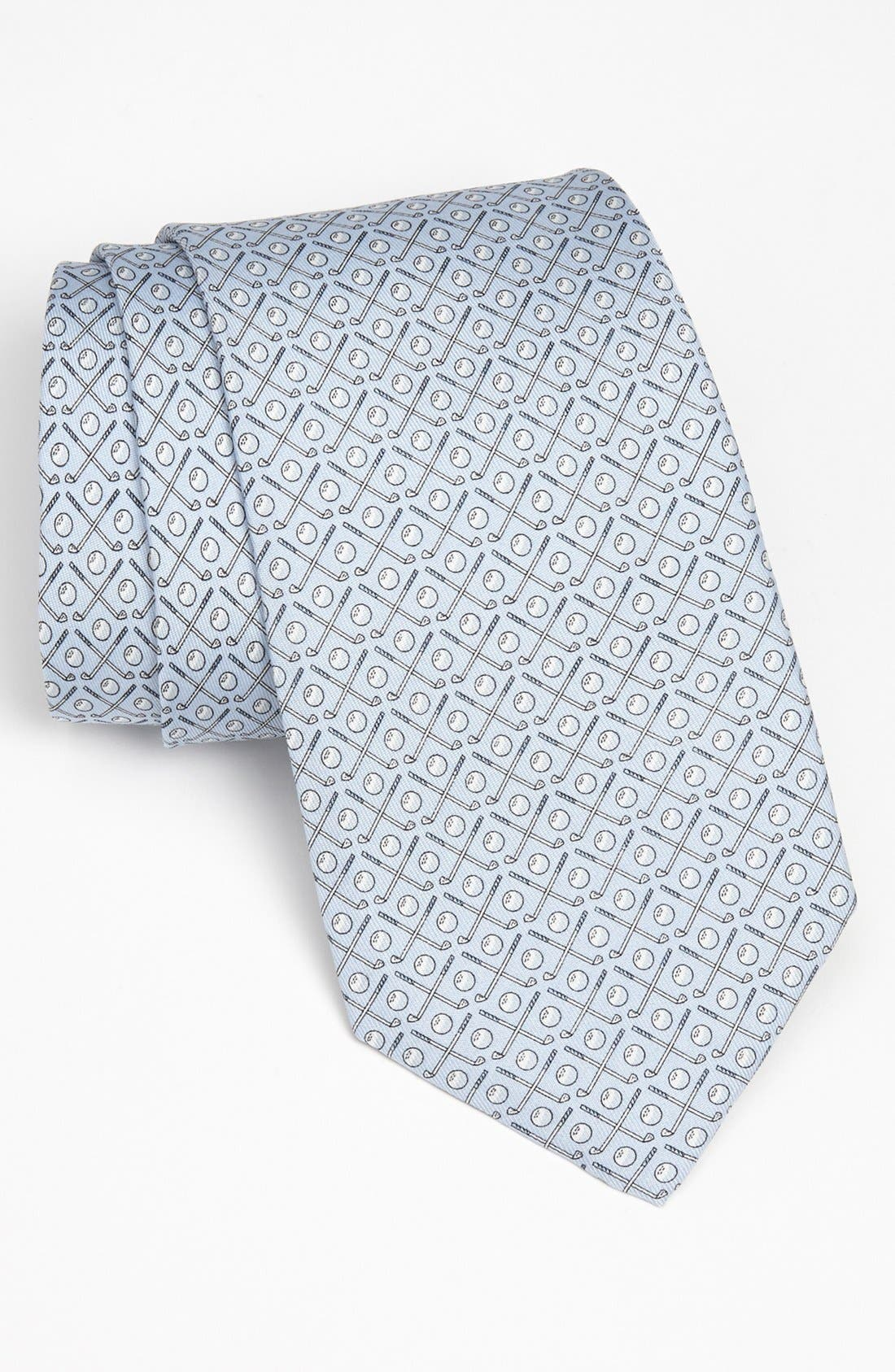 Golf Clubs Silk Tie,                         Main,                         color, Light Blue