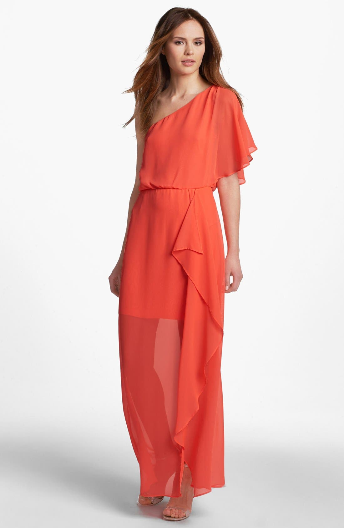 Main Image - Hailey by Adrianna Papell One Shoulder Chiffon Dress