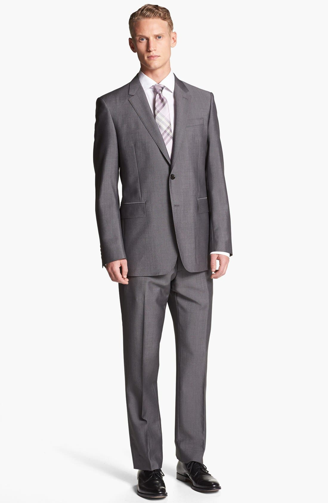 Alternate Image 1 Selected - Burberry London Trim Fit Grey Wool & Mohair Suit