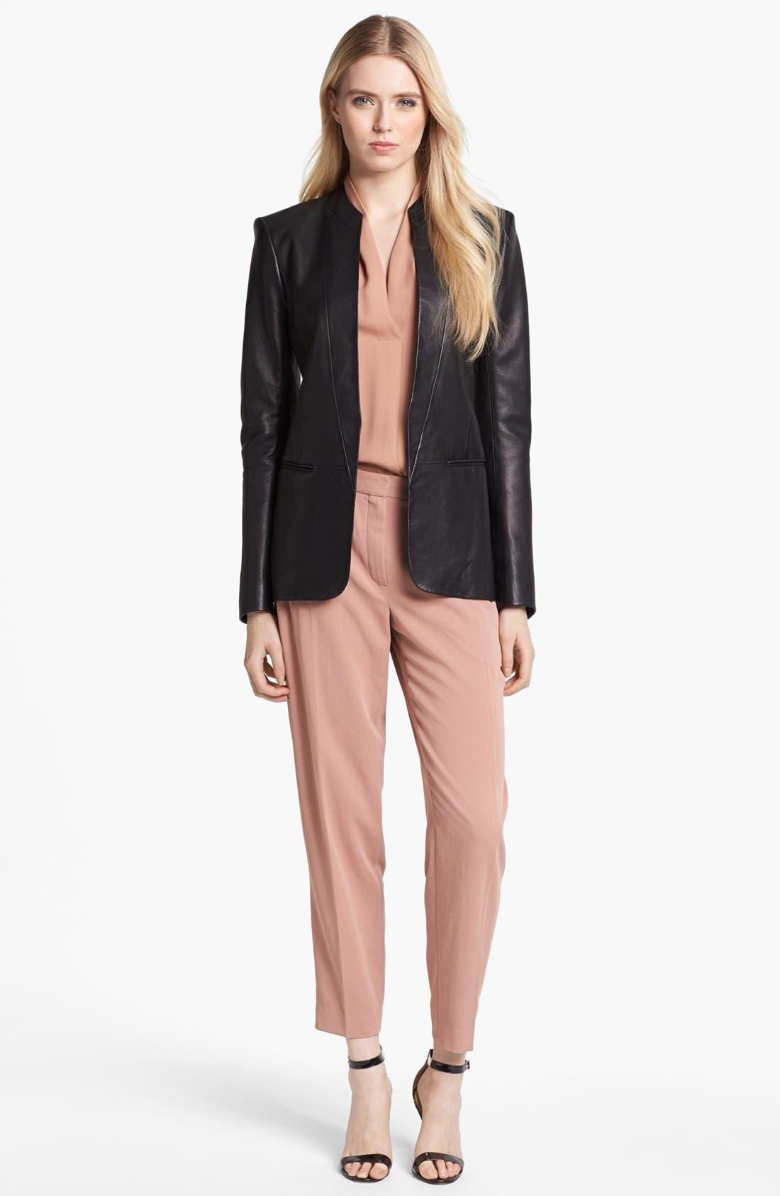 Alternate Image 2  - Theory 'Tamler R.' Open Leather Blazer