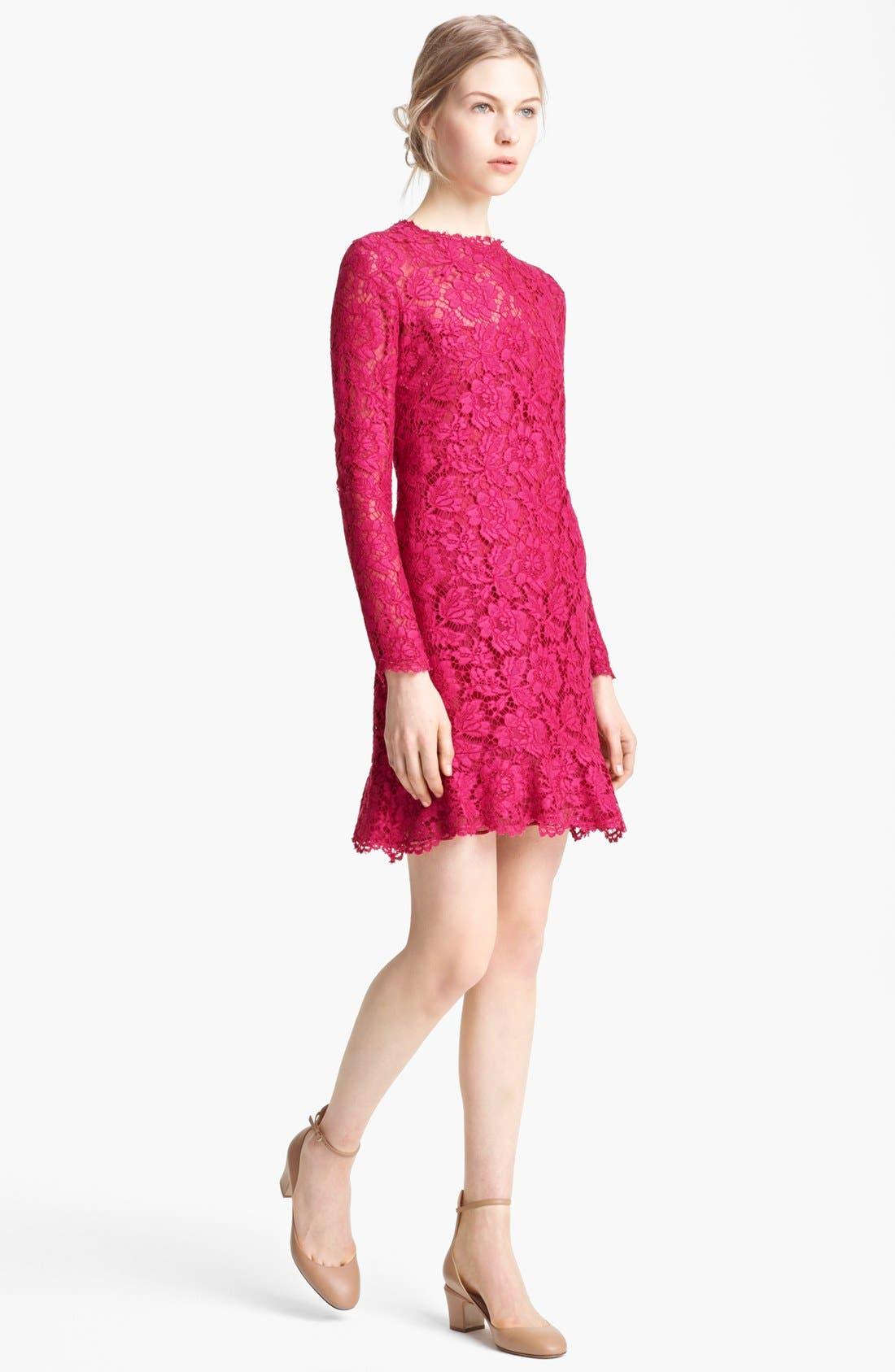 Main Image - Valentino Ruffle Hem Lace Dress