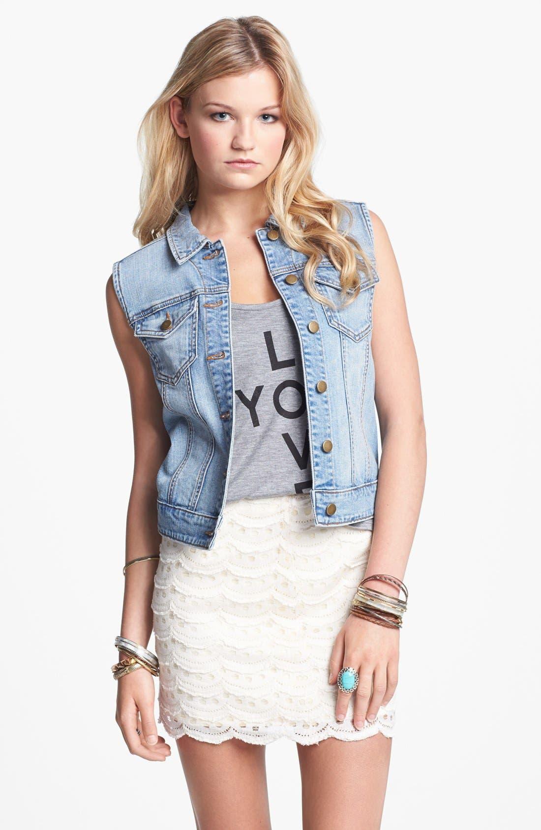Alternate Image 1 Selected - BCNU Scallop Lace Skirt (Juniors)