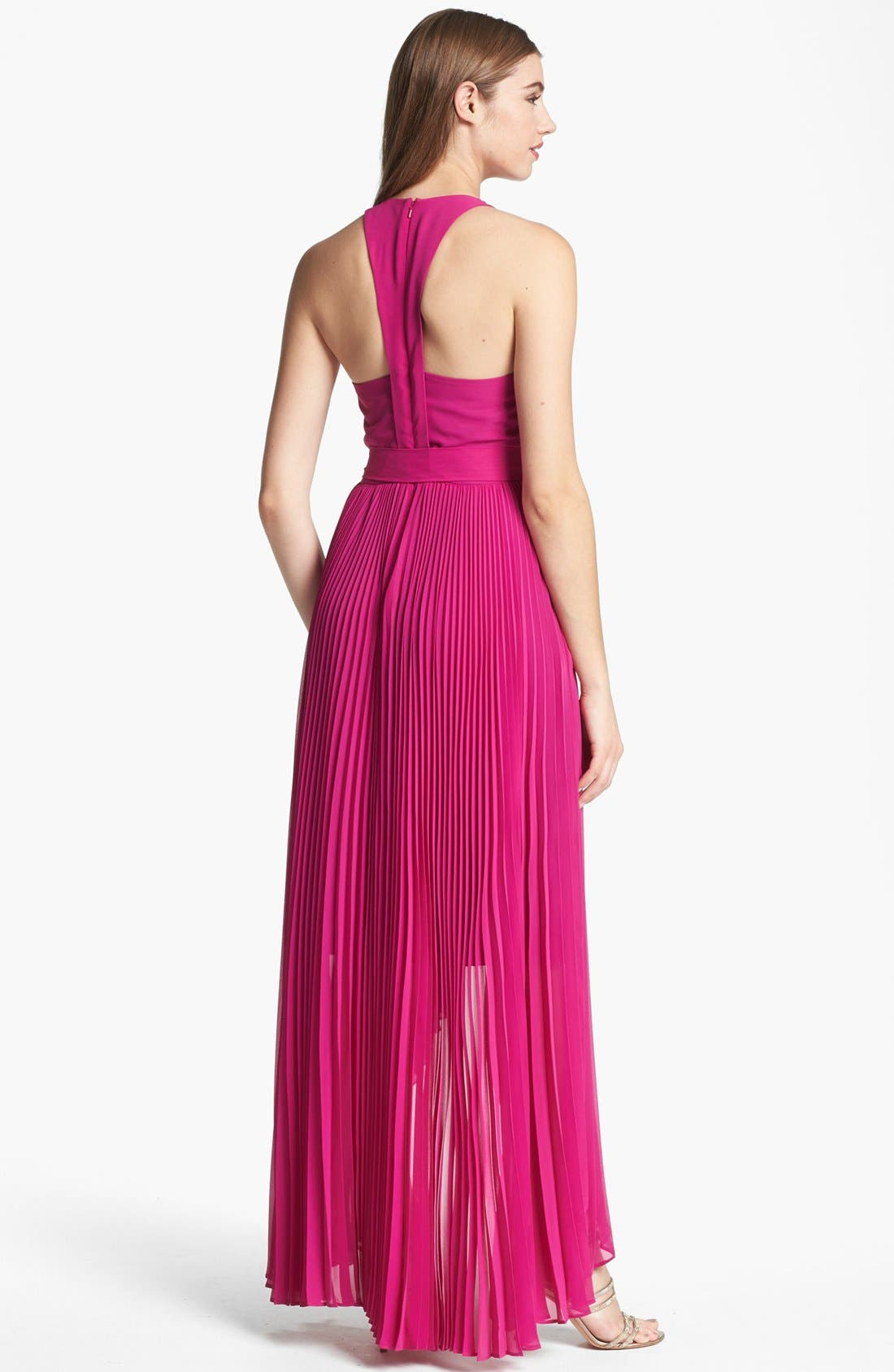 Alternate Image 2  - Max & Cleo Pleated High/Low Gown