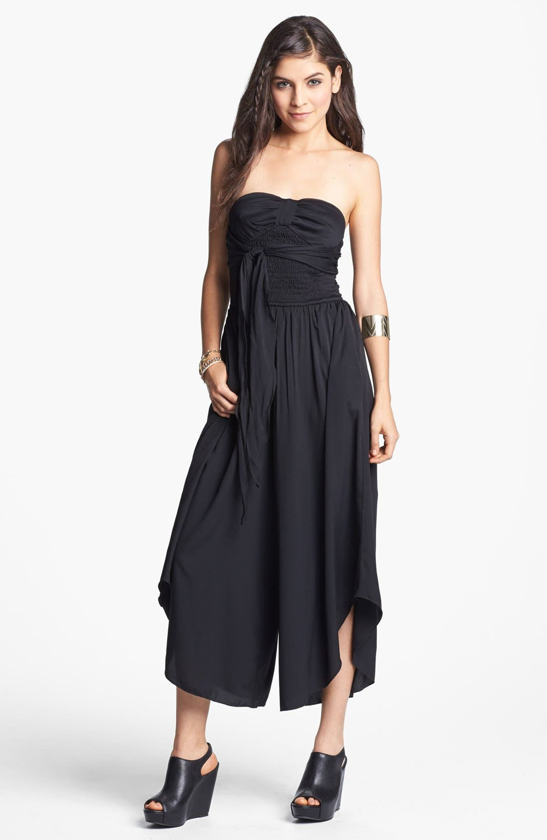 Alternate Image 1 Selected - Band of Gypsies Strapless Palazzo Jumpsuit (Juniors) (Online Only)