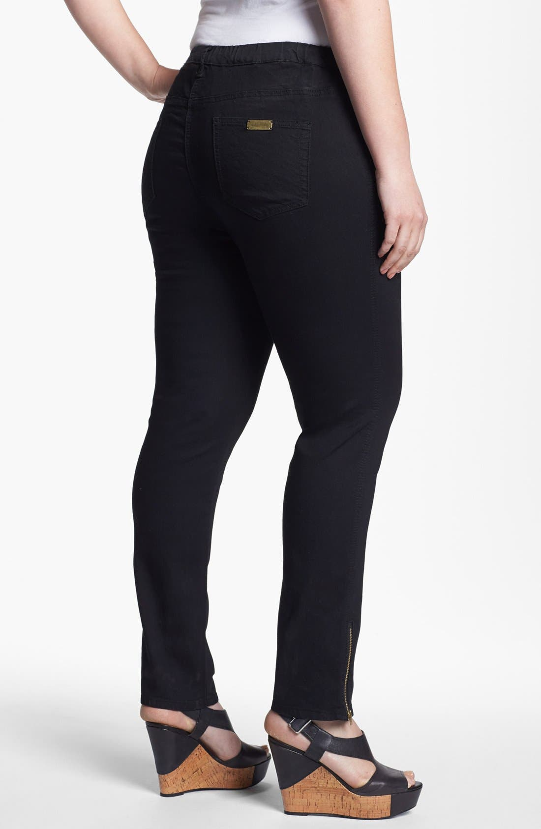 Alternate Image 2  - Evans Ankle Zip Denim Leggings (Plus Size)