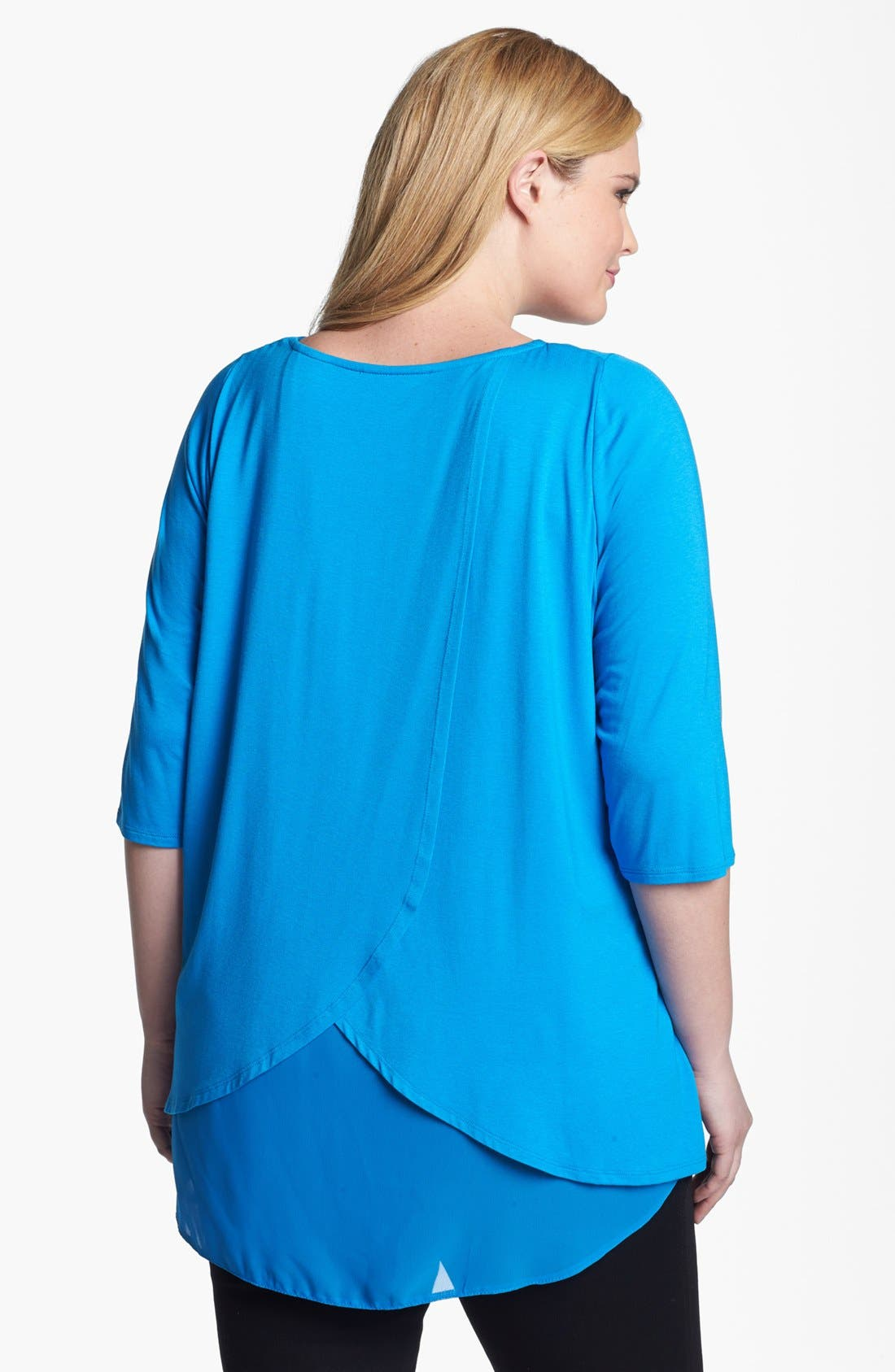 Alternate Image 2  - Evans Cross Back Mixed Media Top (Plus Size)