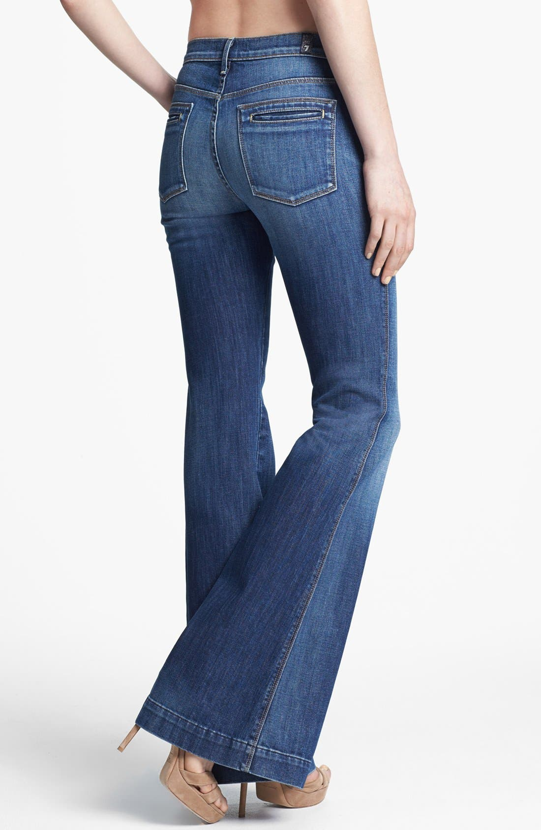 Alternate Image 2  - 7 For All Mankind® 'Clean Biancha' Flare Leg Jeans (Authentic Bright Blue)