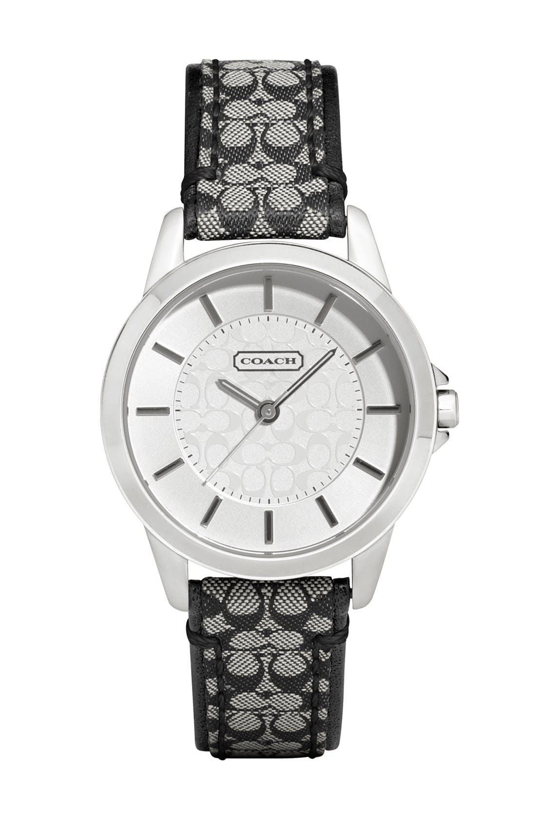 Alternate Image 1 Selected - COACH 'Classic Signature' Logo Strap Watch