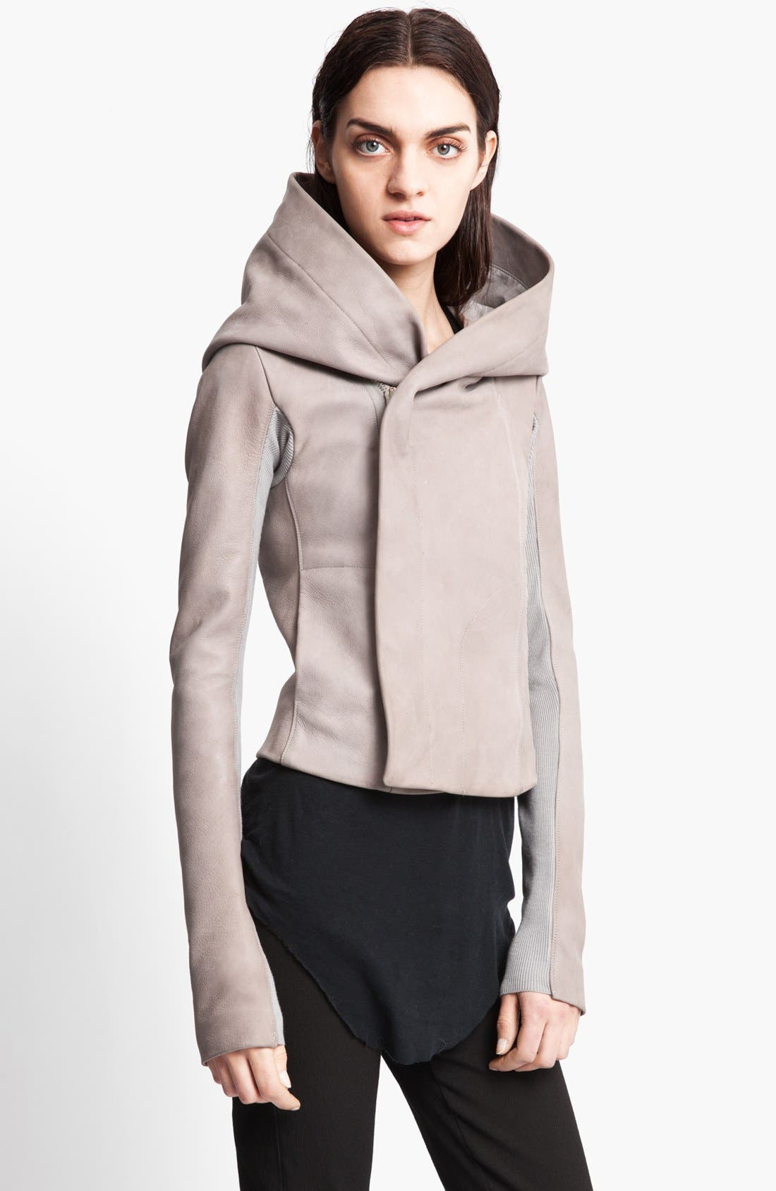 Alternate Image 1 Selected - Rick Owens Hooded Leather Biker Jacket