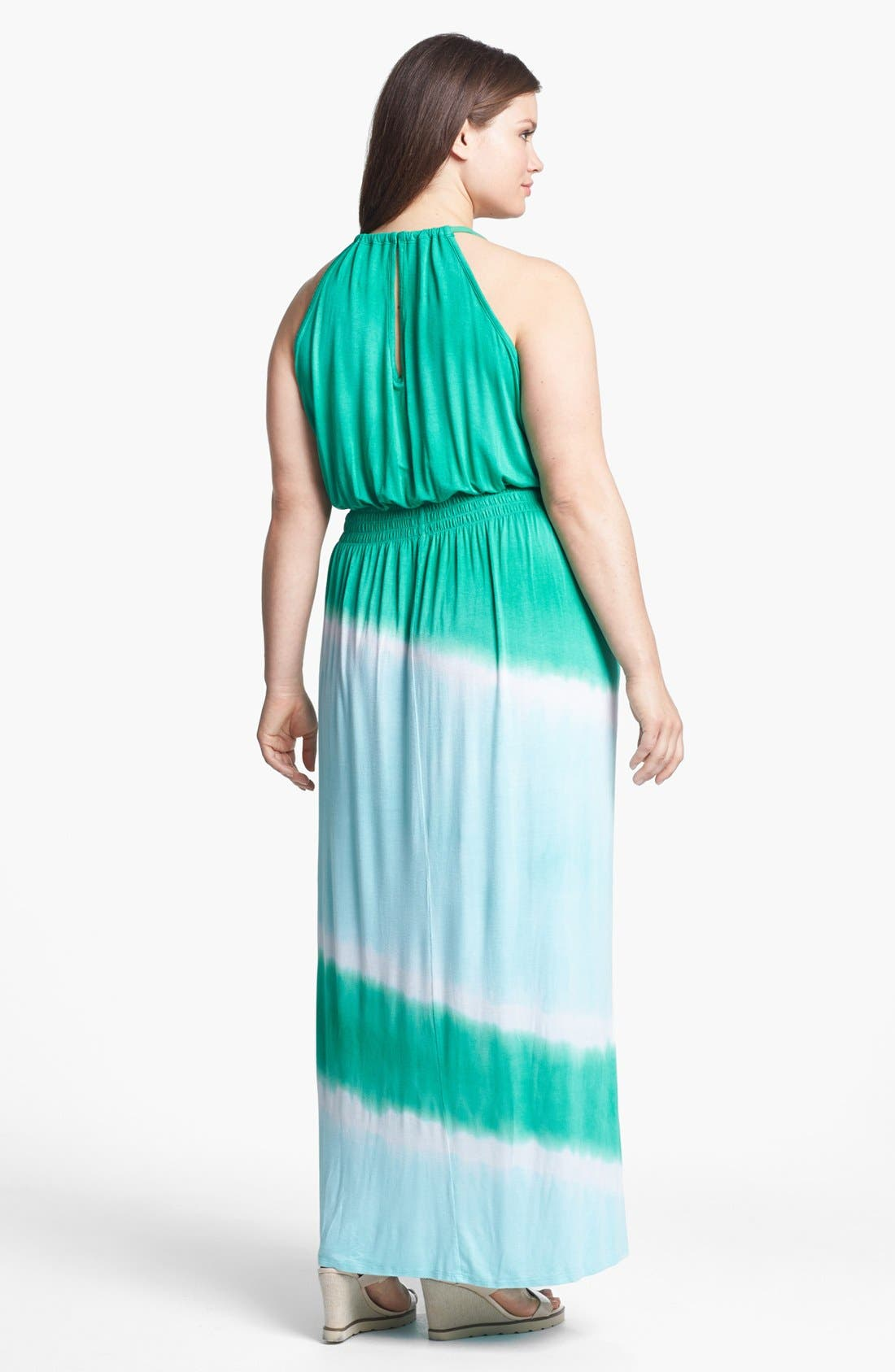 Alternate Image 2  - Loveappella Tie Dye Maxi Dress (Plus Size)