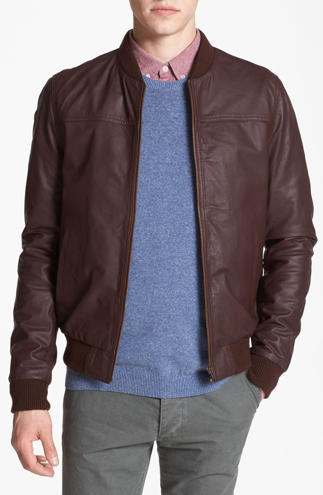 Alternate Image 1 Selected - Topman Leather Bomber Jacket