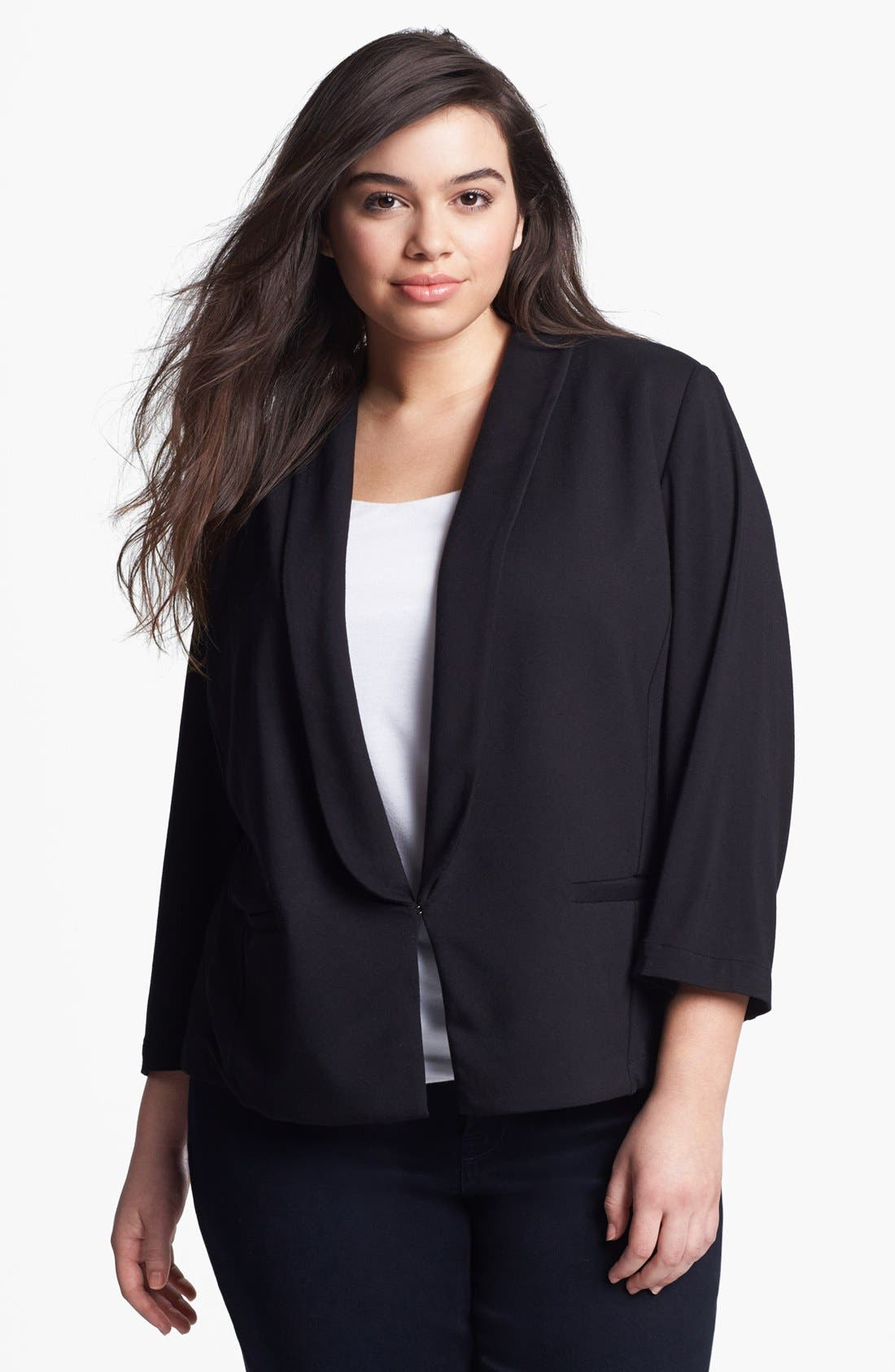 Alternate Image 1 Selected - Sejour 'Siro' Print Shawl Collar Jacket (Plus Size)