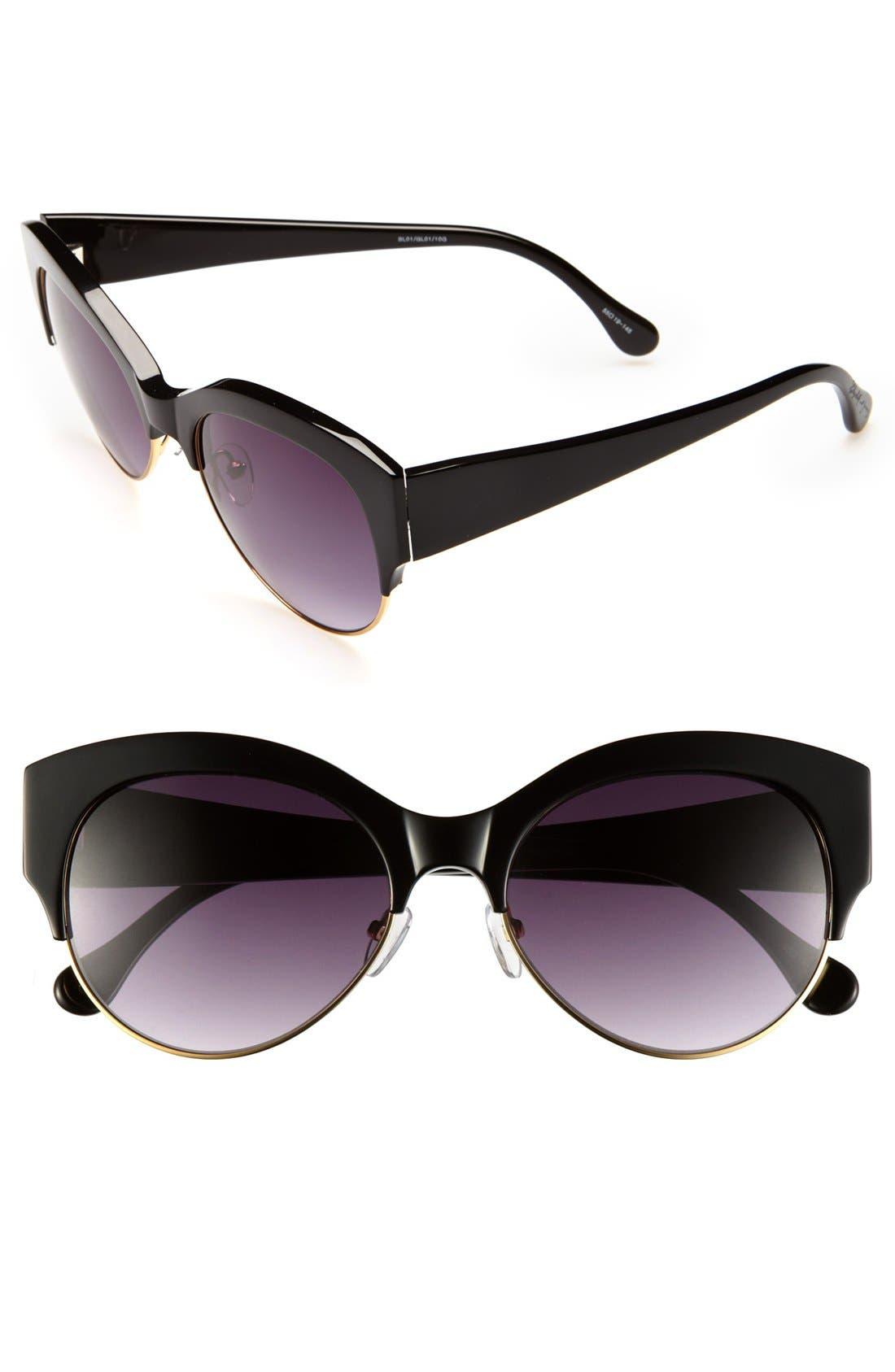 'Isabella' 55mm Sunglasses,                             Main thumbnail 1, color,                             Black/ Shiny Gold