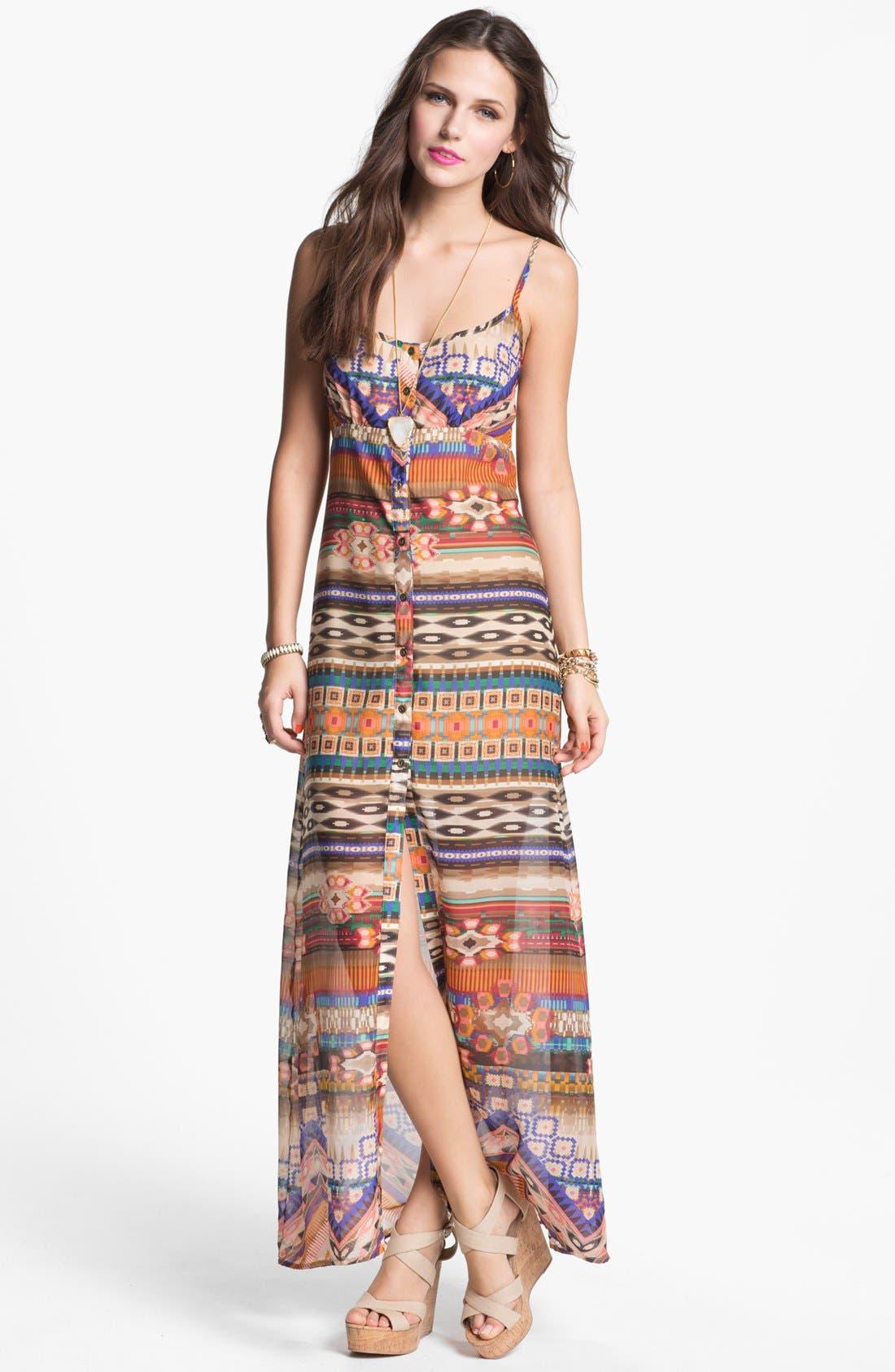 Main Image - Mimi Chica Back Cutout Print Maxi Dress (Juniors)