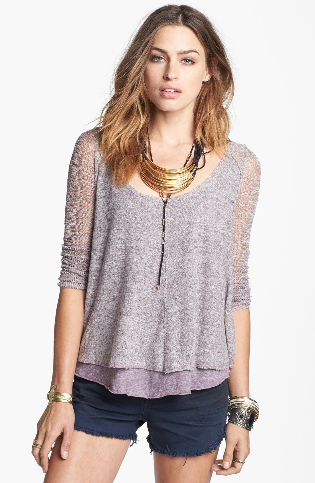 Alternate Image 1 Selected - Free People 'Twisted Tea' Linen Top