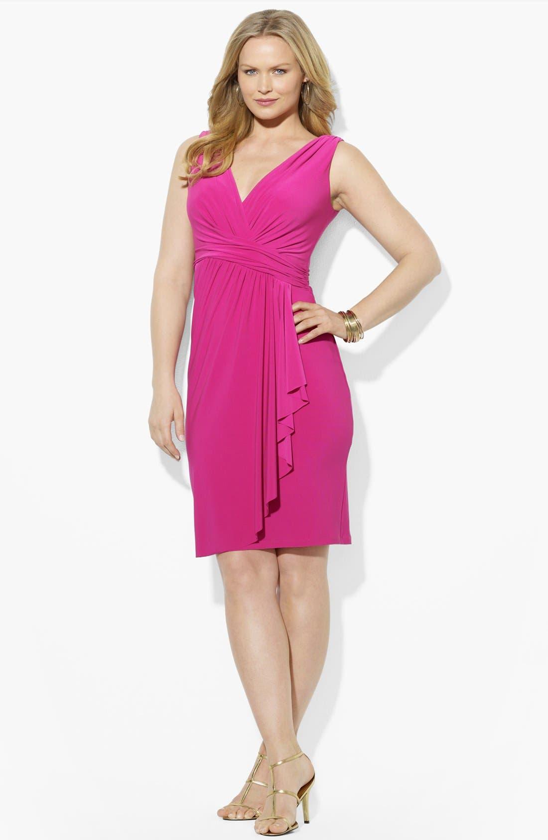 Alternate Image 3  - Lauren Ralph Lauren Shirred Matte Jersey Dress (Plus Size)