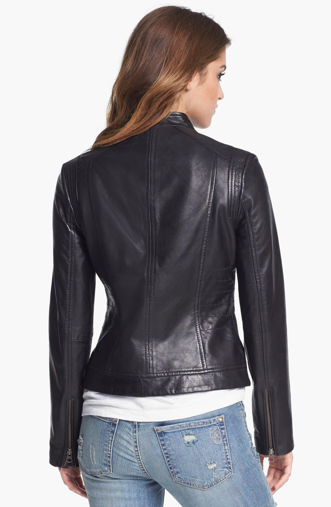 Alternate Image 2  - Bernardo Tab Collar Leather Jacket (Regular & Petite) (Nordstrom Exclusive)