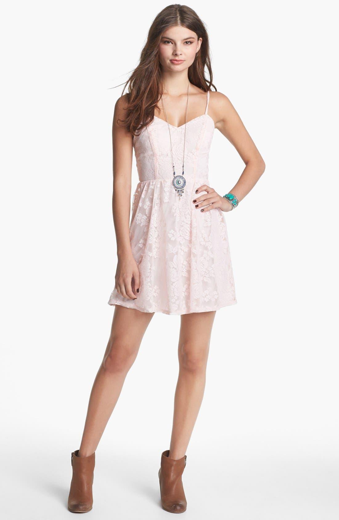Alternate Image 1 Selected - Socialite Lace Skater Dress (Juniors) (Online Only)