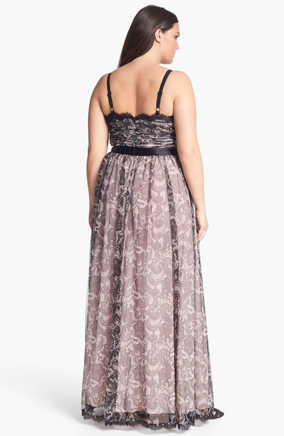 Alternate Image 2  - Adrianna Papell Lace Print Tulle Gown (Plus Size)