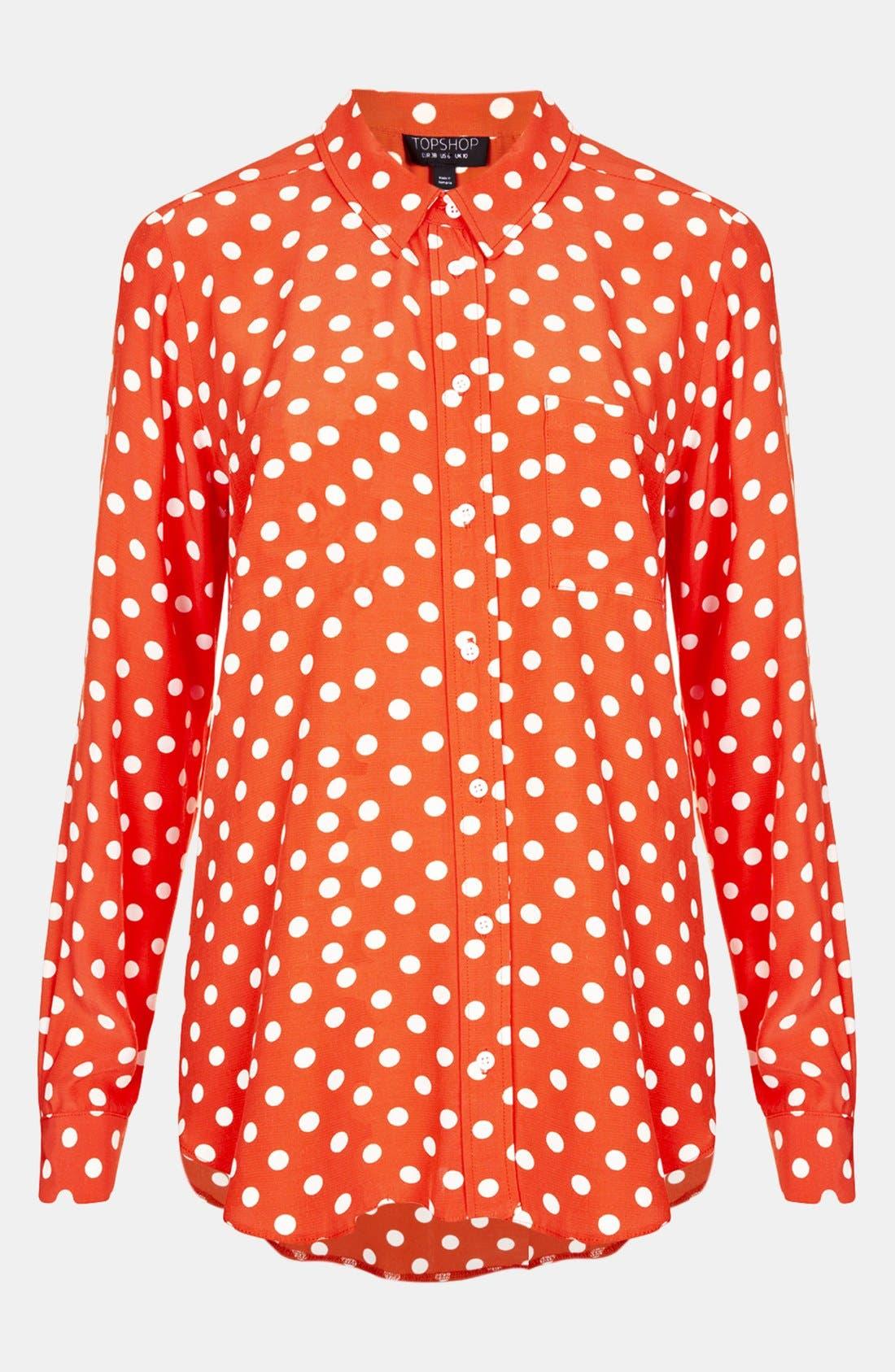 Main Image - Topshop Polka Dot Dolman Shirt