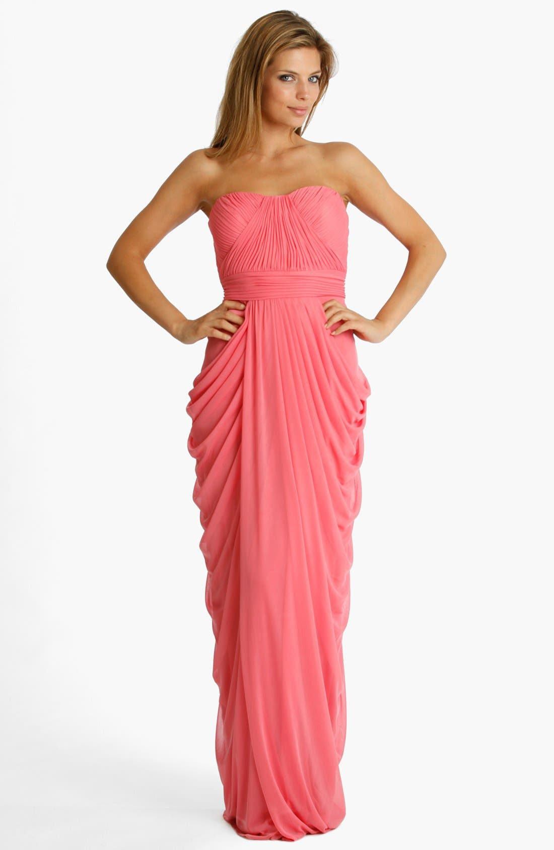 Alternate Image 1 Selected - JS Collections Strapless Draped Jersey Gown