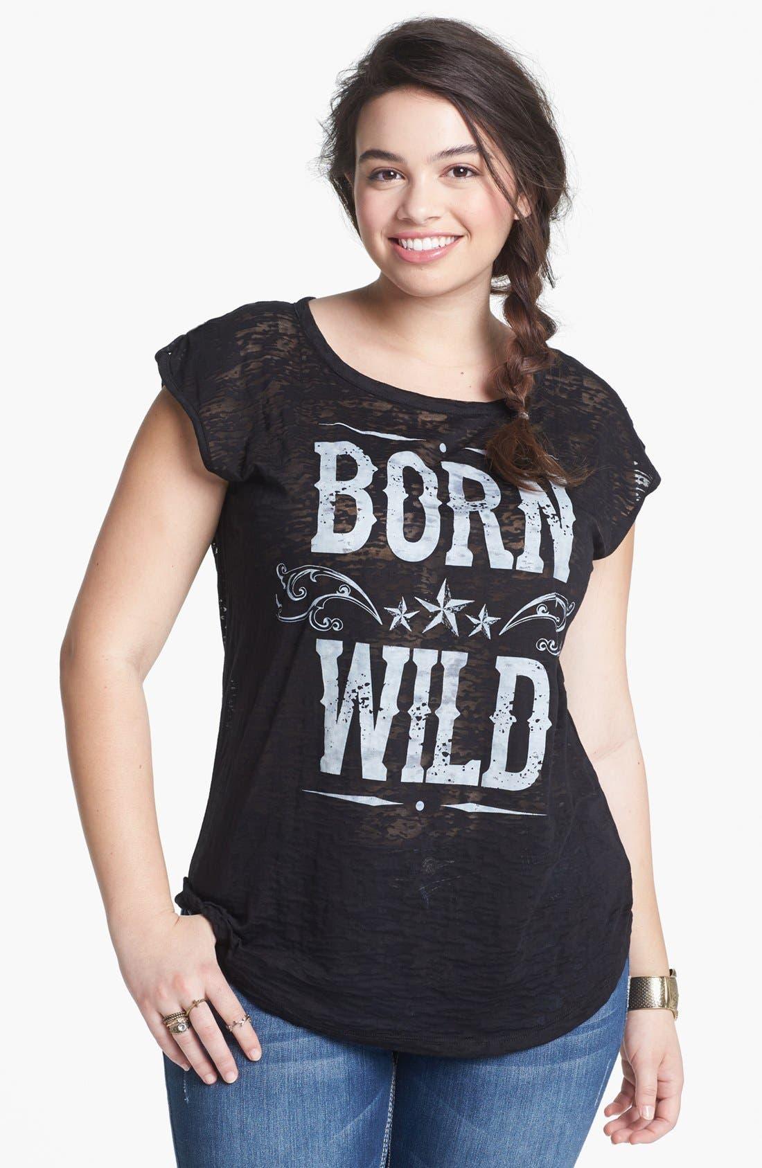 Alternate Image 1 Selected - Pretty Rebel 'Born Wild' Graphic Tee (Juniors Plus)