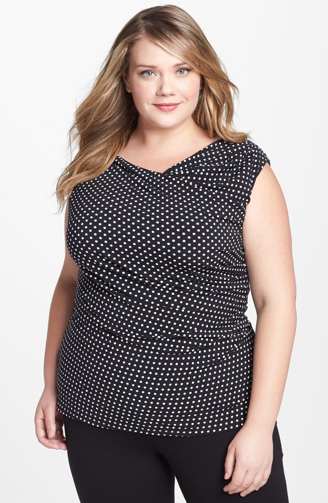 Main Image - Vince Camuto Ruched Polka Dot Top (Plus Size)