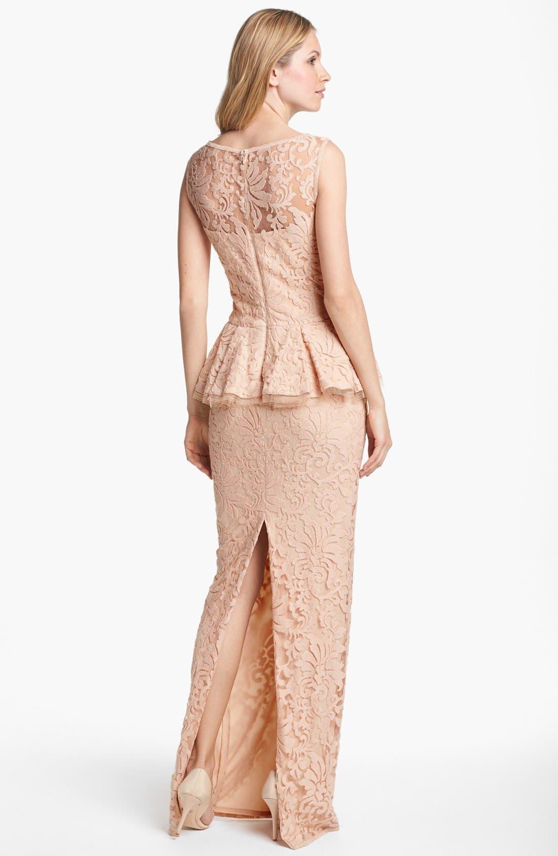 Alternate Image 2  - Tadashi Shoji Sleeveless Lace Peplum Gown