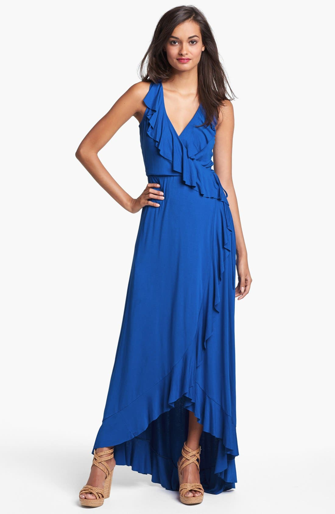 Main Image - Felicity & Coco Ruffled Faux Wrap Maxi Dress (Nordstrom Exclusive)