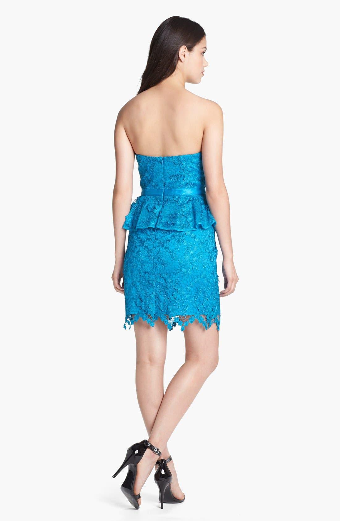 Alternate Image 2  - Aidan Mattox Lace Peplum Dress (Online Only)