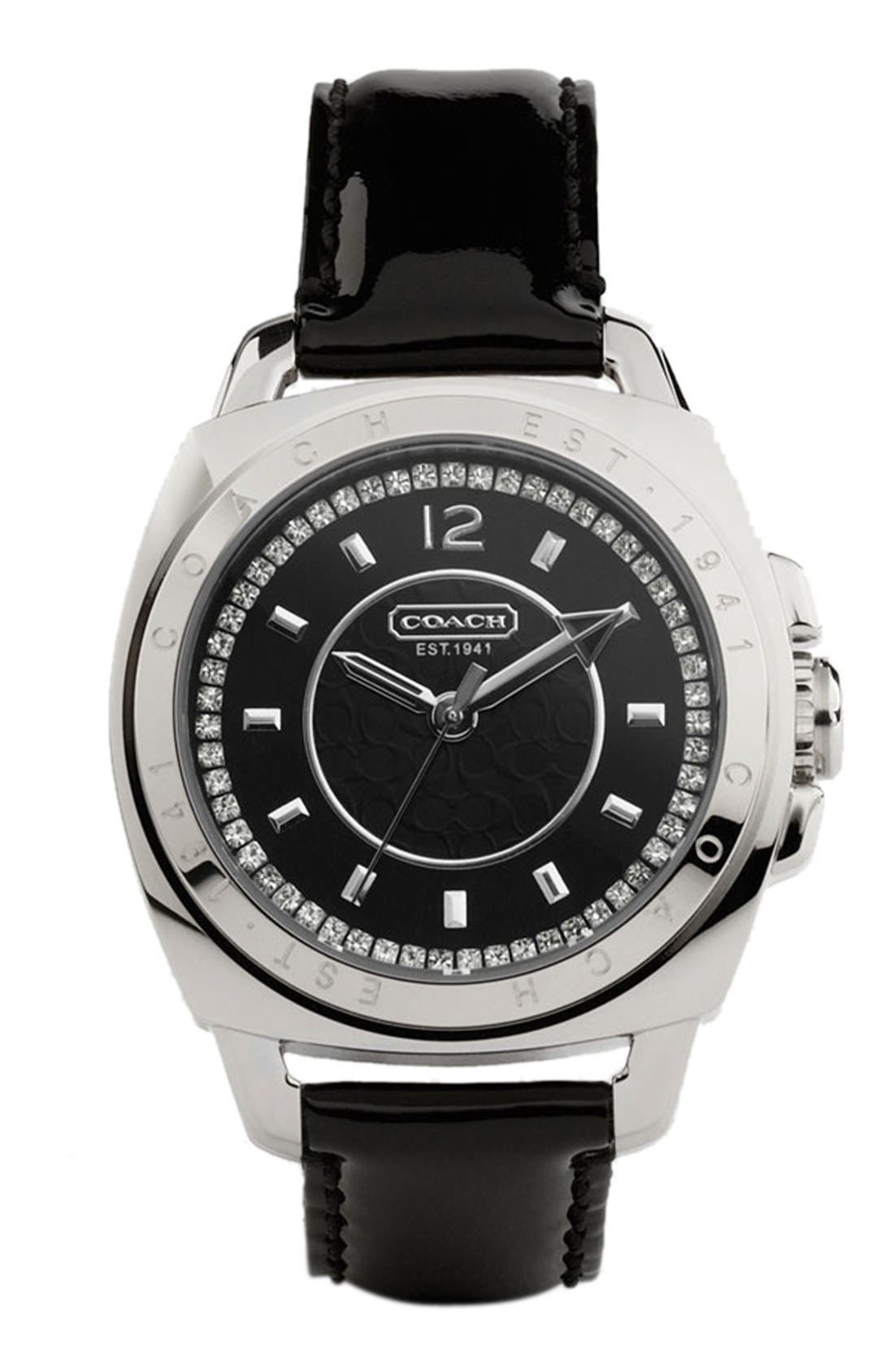 Alternate Image 1 Selected - COACH 'Boyfriend' Patent Leather Strap Watch, 38mm