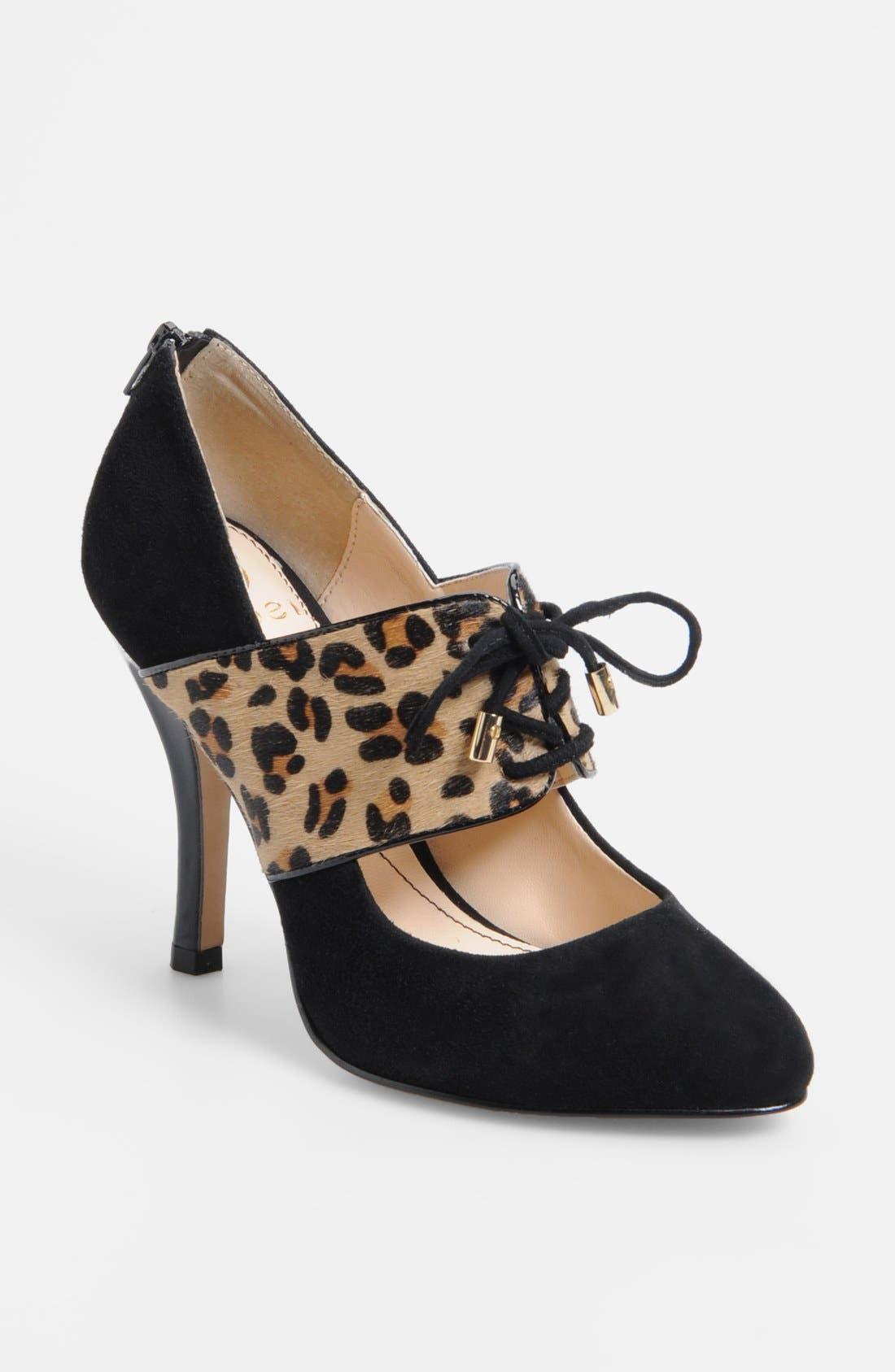 'Isabel' Pump,                             Main thumbnail 1, color,                             Black/ Leopard
