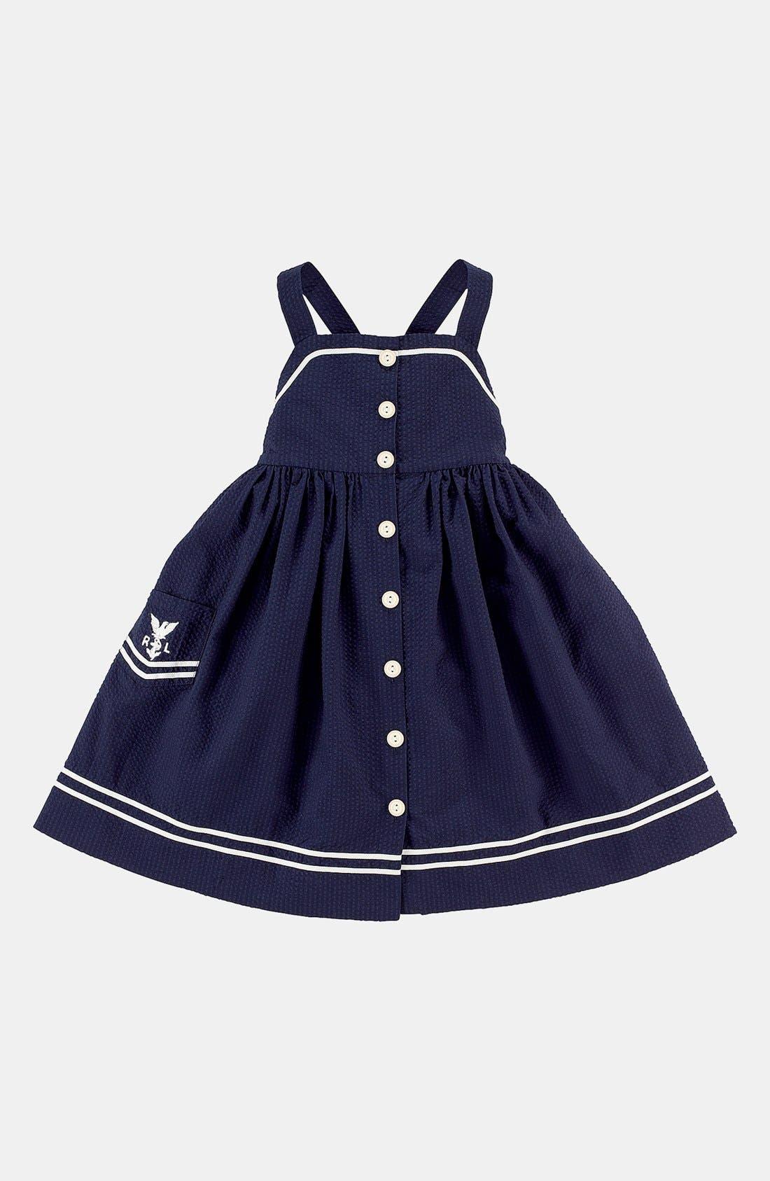 Alternate Image 1 Selected - Ralph Lauren Seersucker Dress (Toddler Girls)