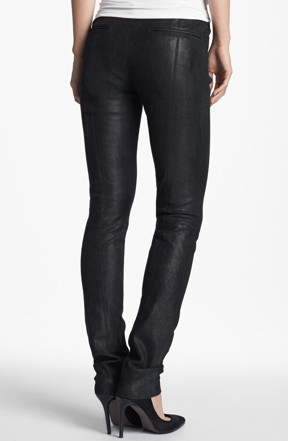 Alternate Image 2  - Helmut Lang Stovepipe Stretch Leather Leggings