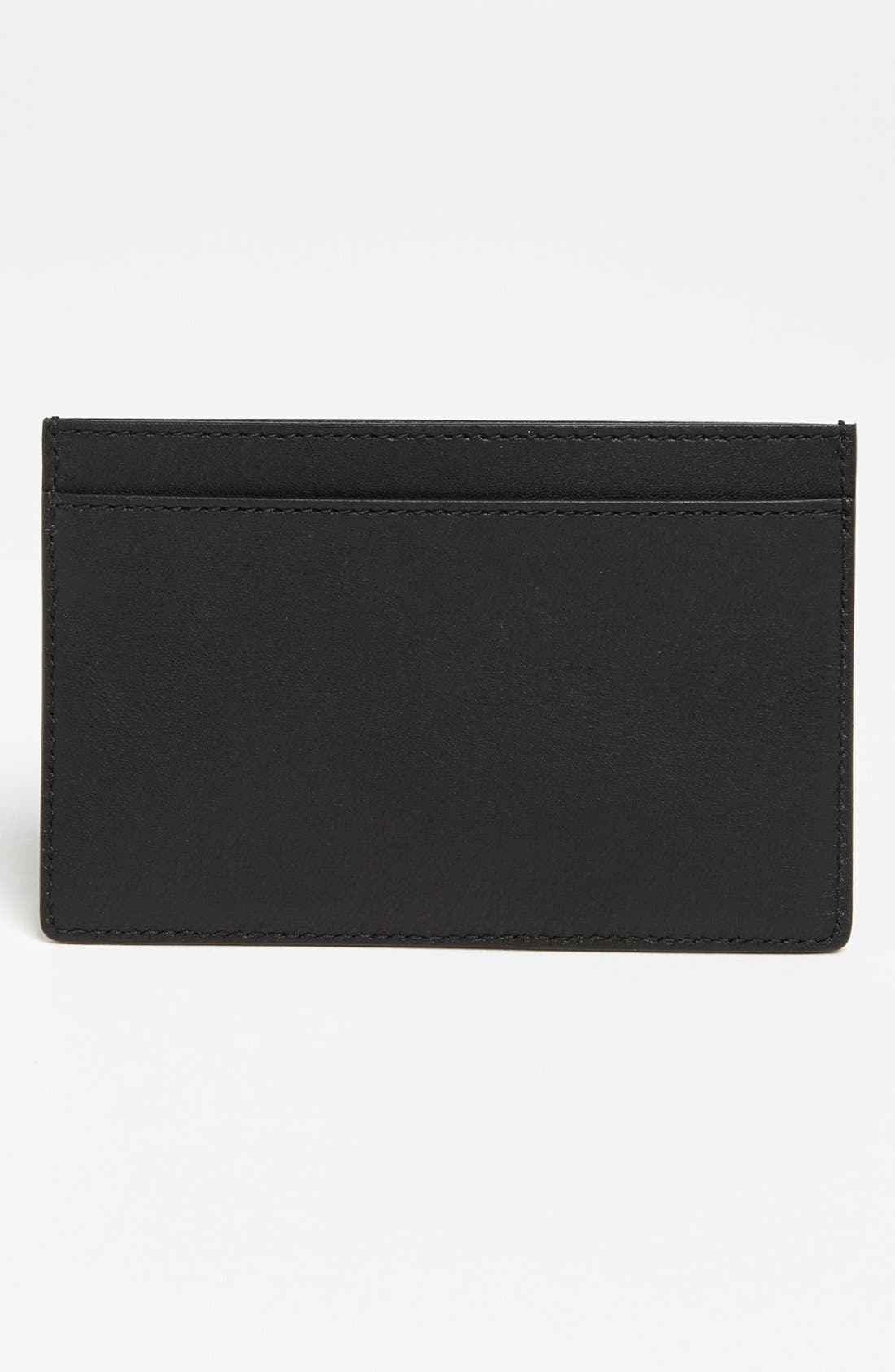 Leather Credit Card Case,                             Alternate thumbnail 2, color,                             Noir