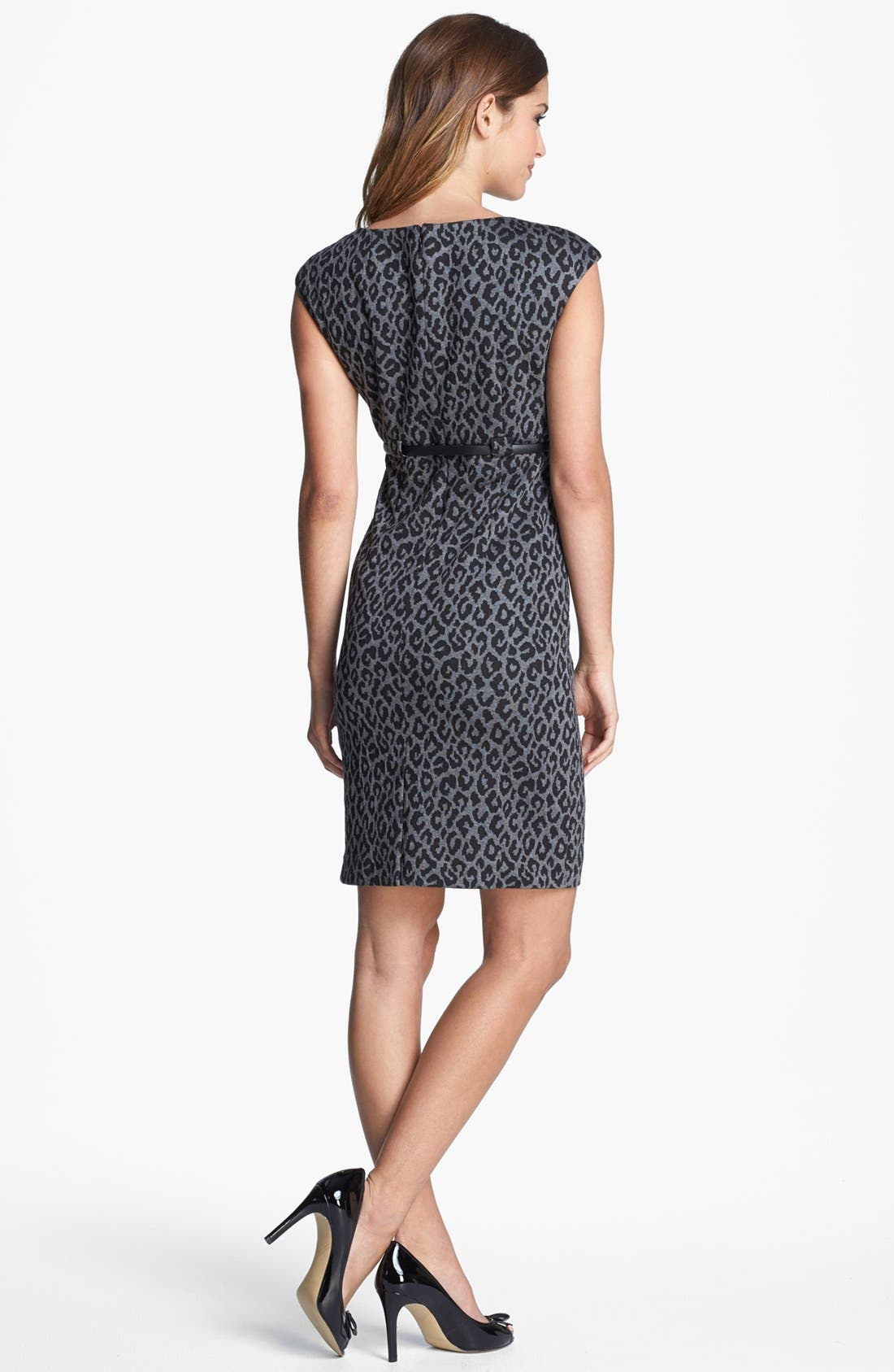 Alternate Image 2  - Calvin Klein Animal Print Cap Sleeve Ponte Sheath Dress