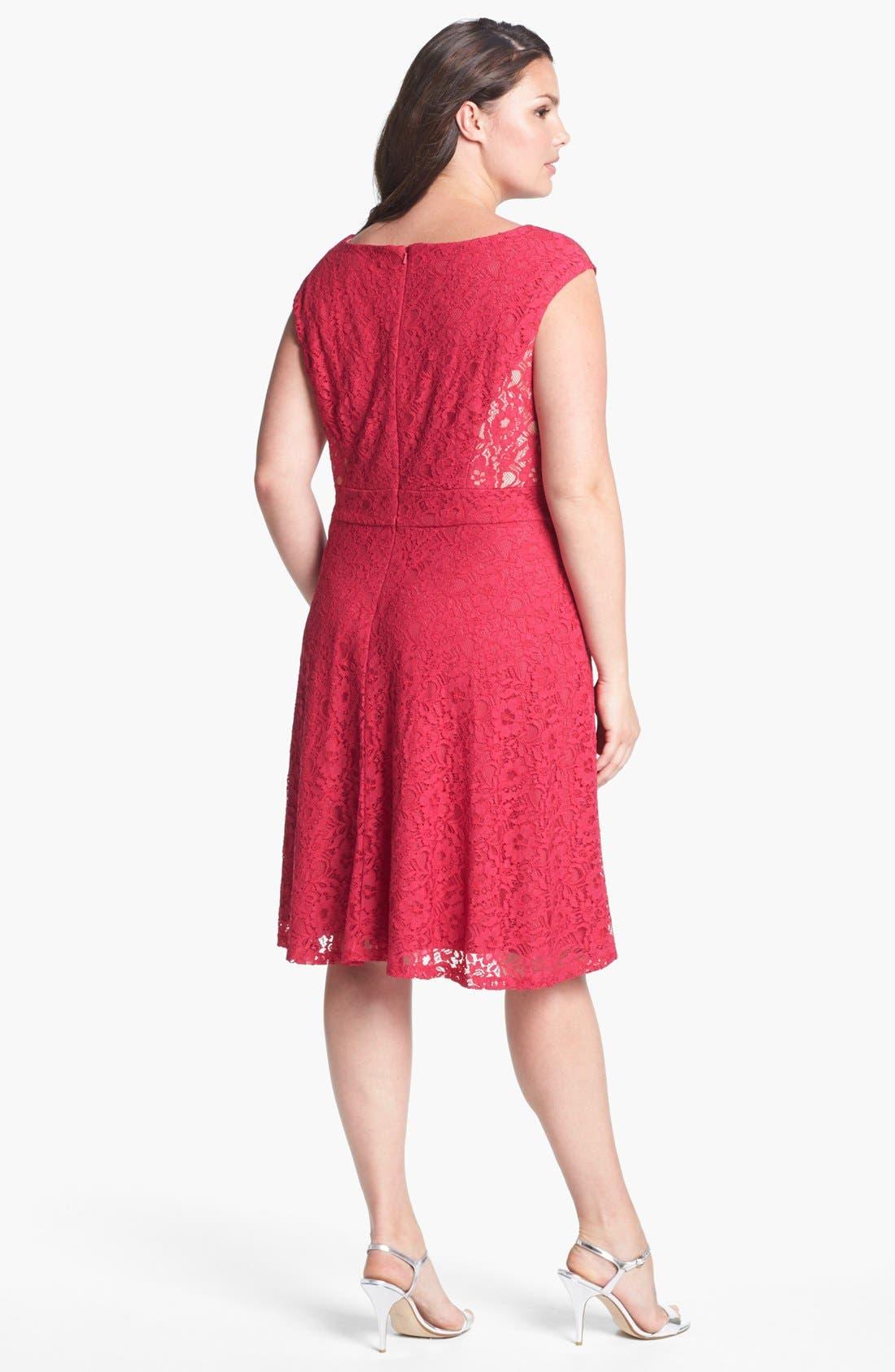 Alternate Image 2  - Donna Ricco Lace Fit & Flare Dress (Plus Size)