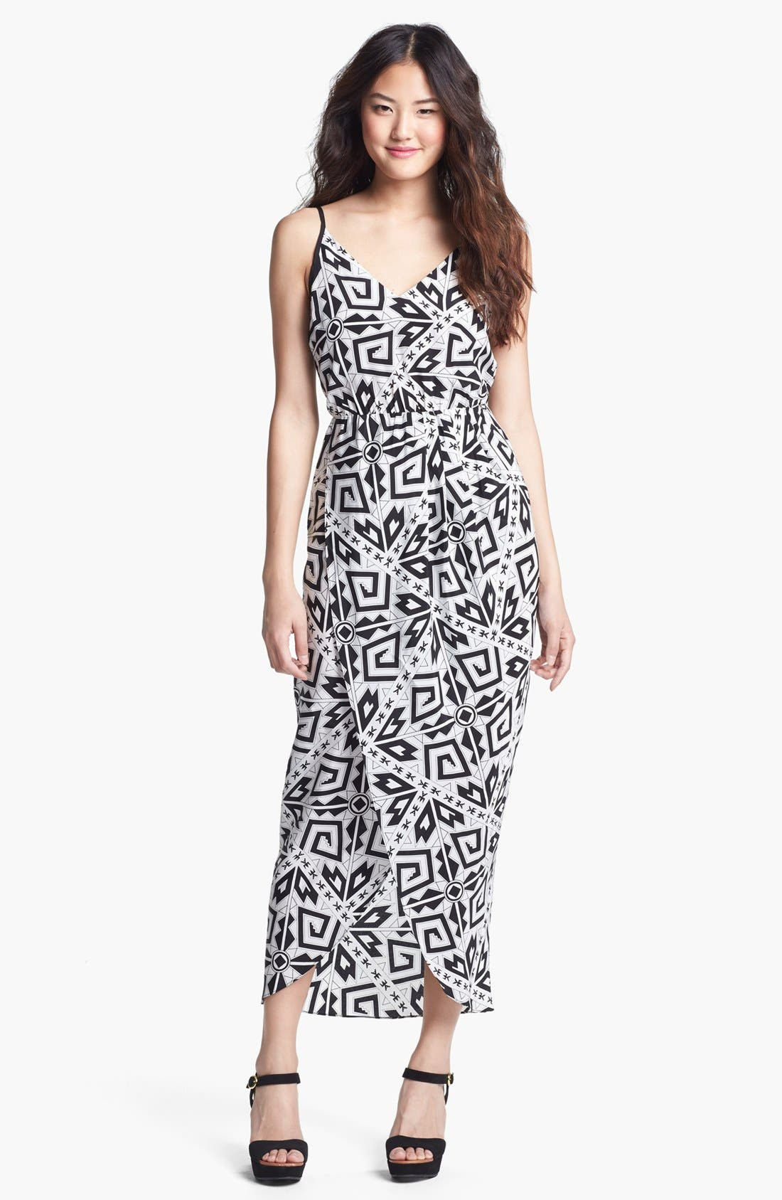 Main Image - Amanda Uprichard 'Madison' Print Faux Wrap Maxi Dress
