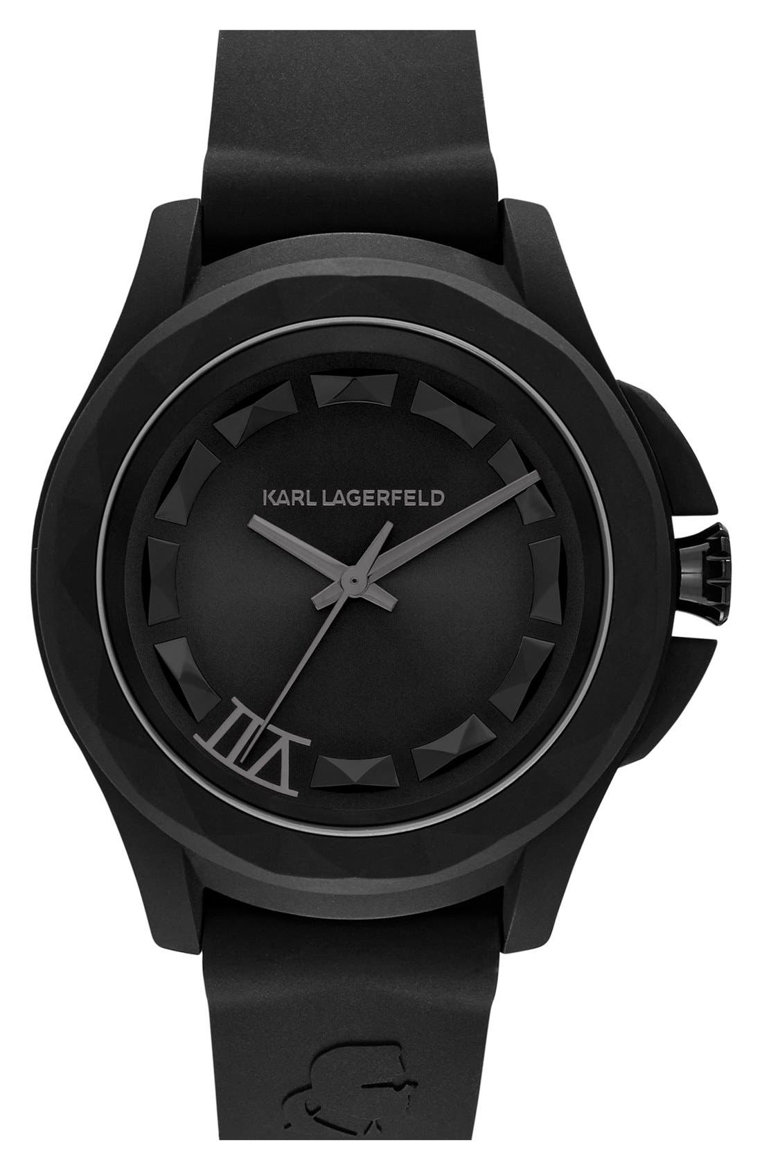 Main Image - KARL LAGERFELD '7' Beveled Bezel Silicone Strap Watch, 44mm