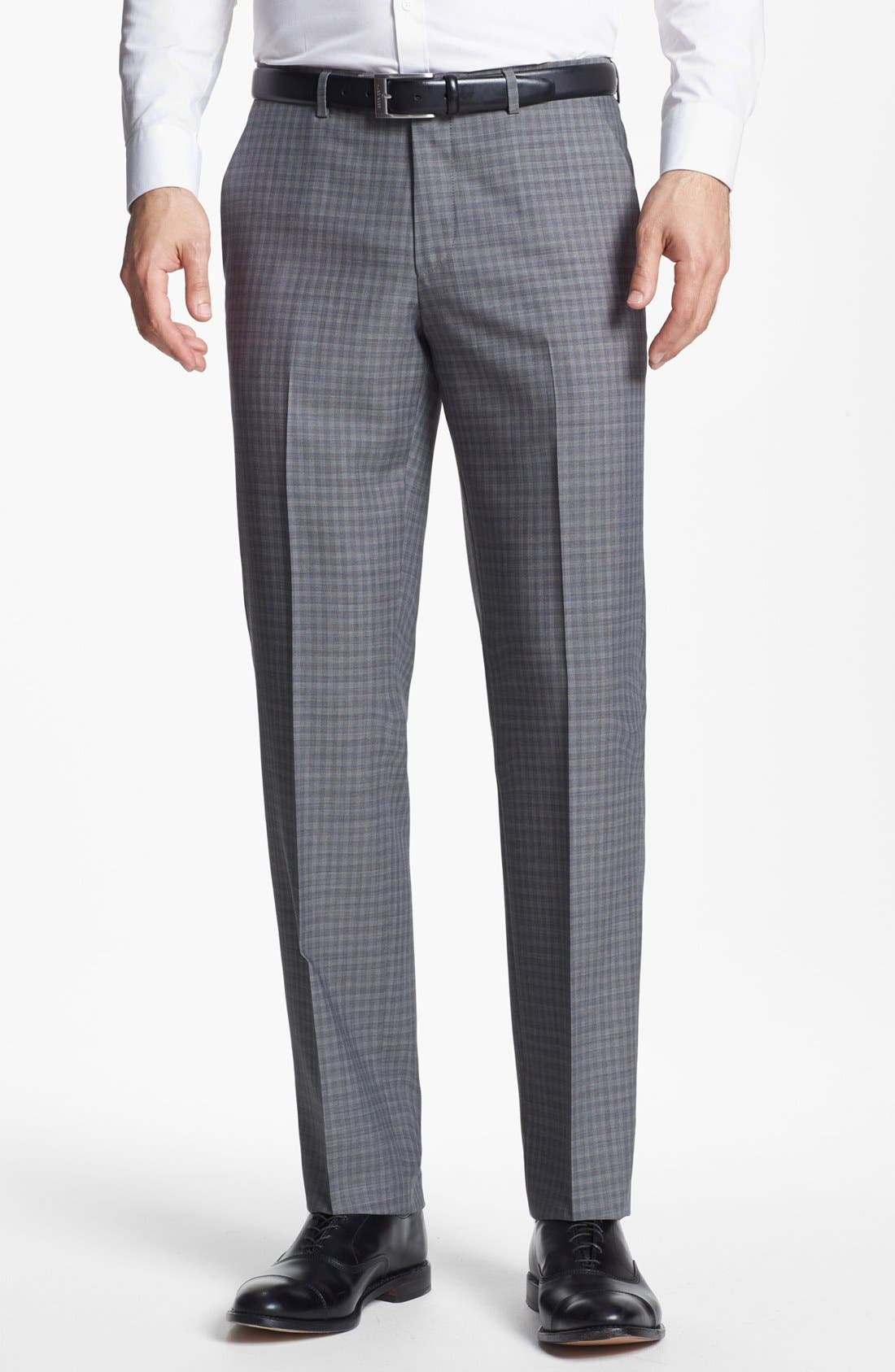 Alternate Image 1 Selected - BOSS Black 'Sharp' Flat Front Wool Trousers