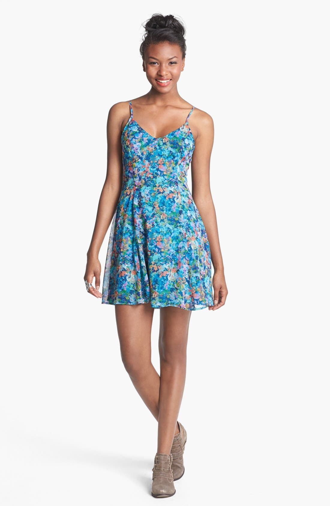 Main Image - Lush V-Neck Print Skater Dress (Juniors)