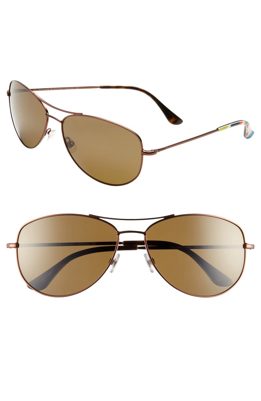 Alternate Image 1 Selected - kate spade new york 'ally' 60mm polarized metal aviator sunglasses