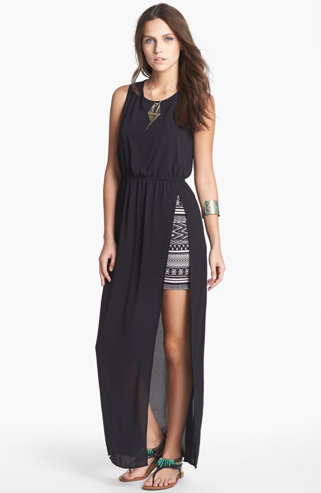Main Image - dee elle Side Slit Maxi Dress with Skirt (Juniors) (Online Only)
