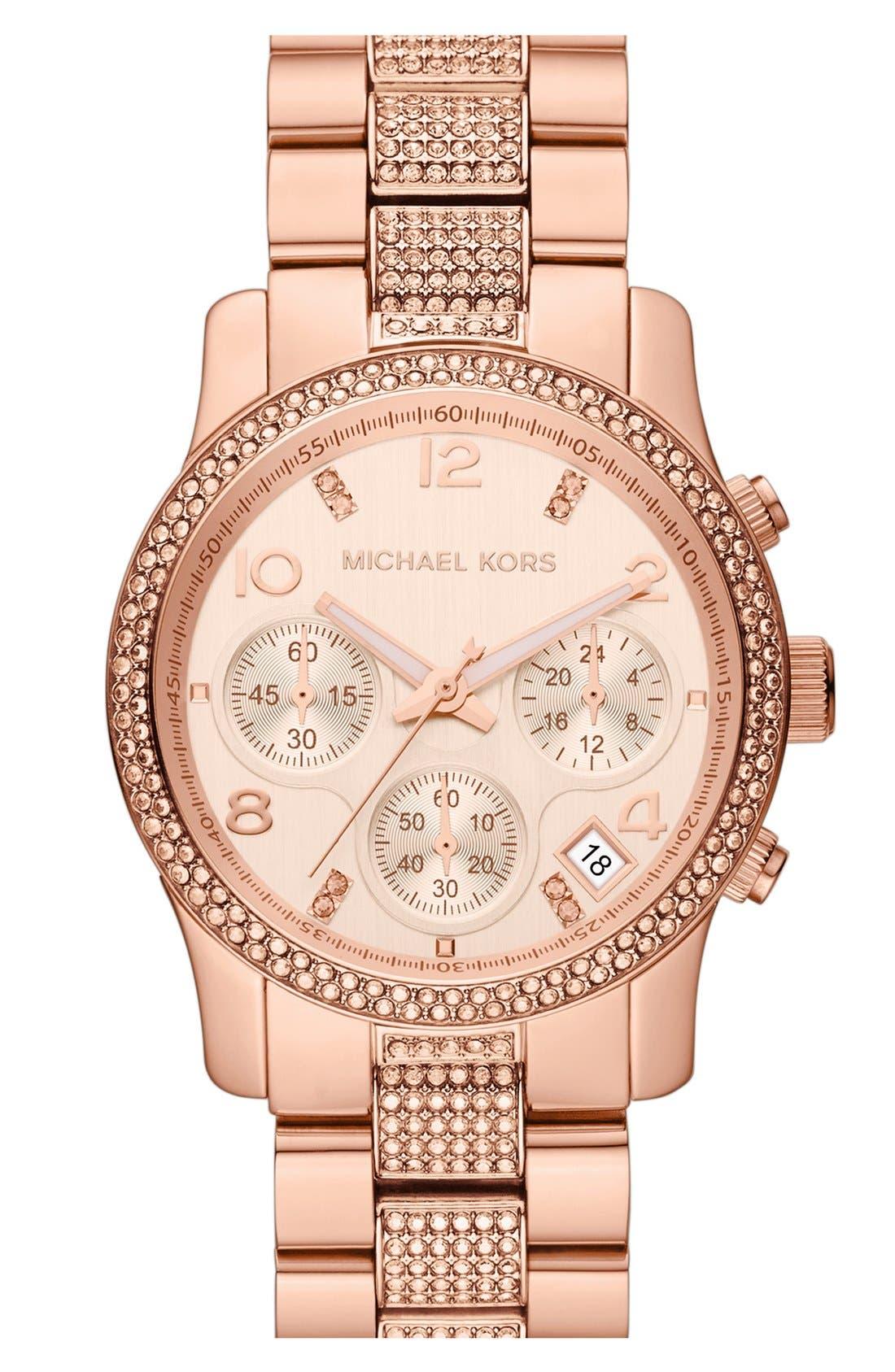 Alternate Image 1 Selected - Michael Kors 'Runway' Crystal Chronograph Bracelet Watch, 38mm