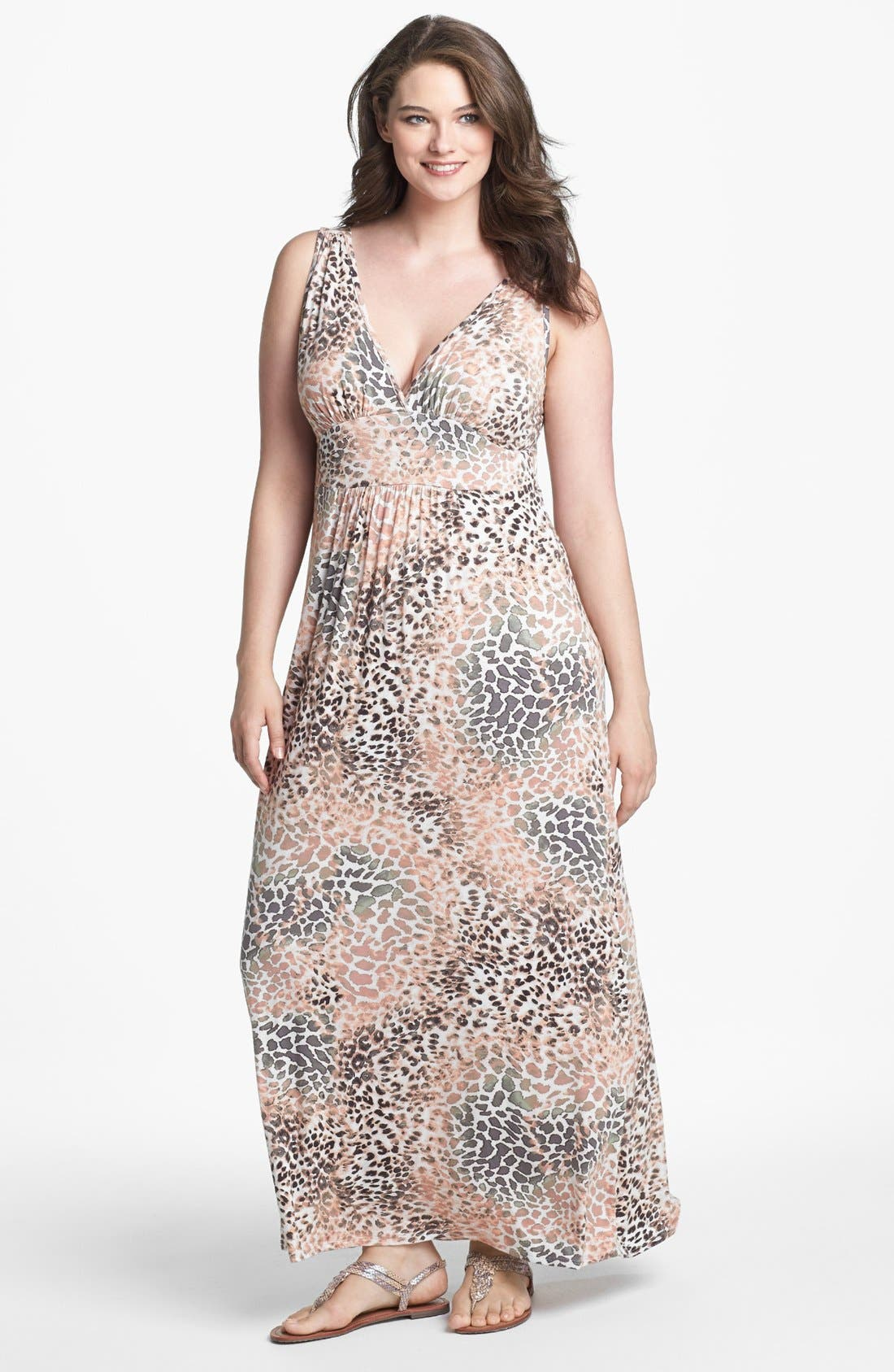 Main Image - Loveappella Print Jersey Maxi Dress (Plus Size)