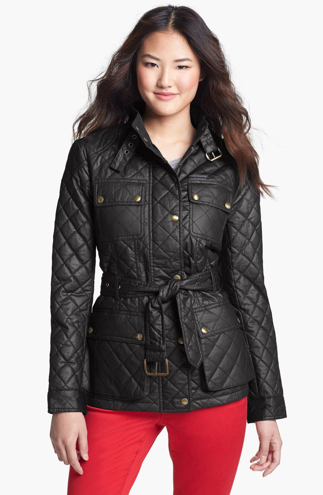Quilted Field Jacket,                         Main,                         color, Black