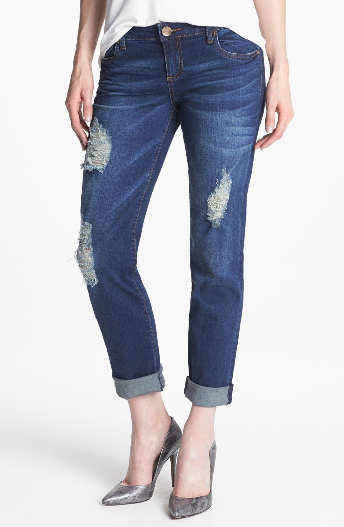 Alternate Image 2  - KUT from the Kloth 'Catherine' Destroyed Slim Boyfriend Crop Jeans (Artist)