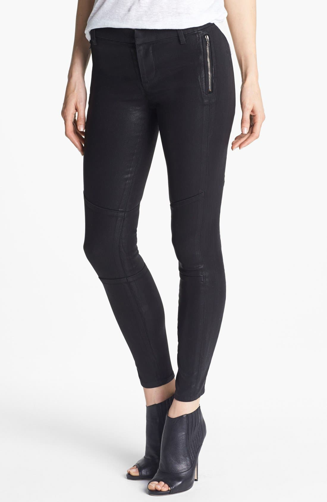 Alternate Image 1 Selected - J Brand '8046 Tabitha' Mid Rise Coated Skinny Jeans (Lacquered Black Quartz)
