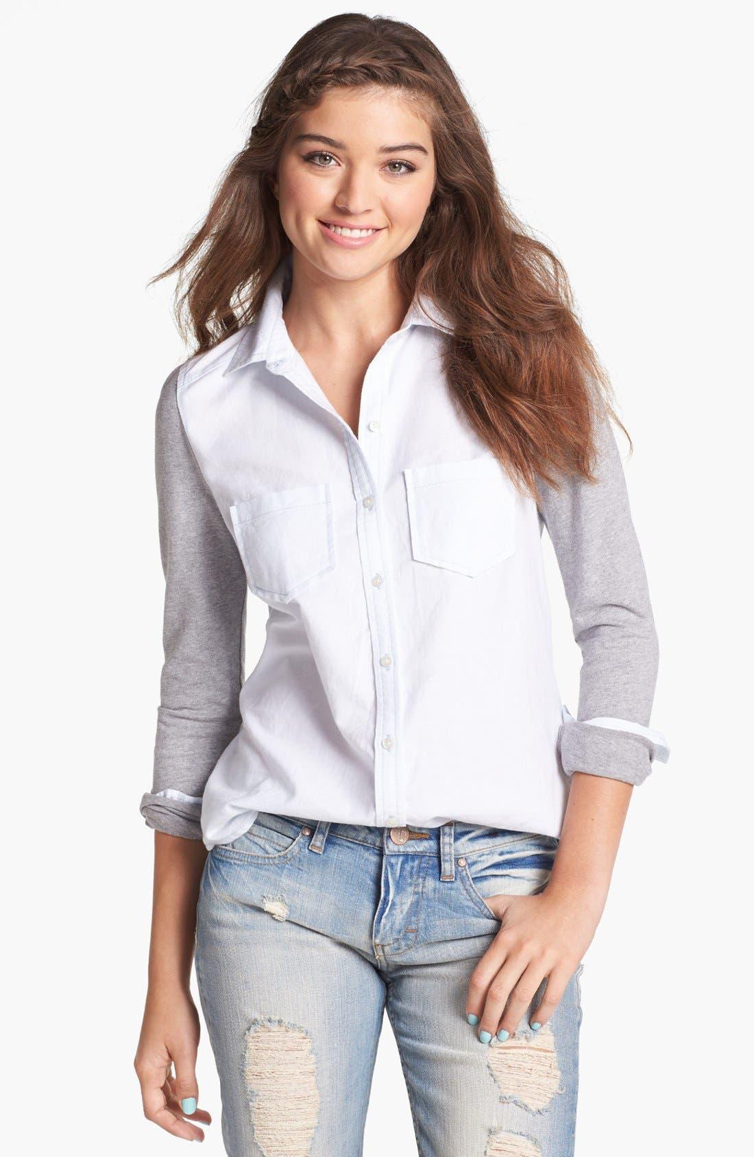 Main Image - BP. Jersey Sleeve Button Front Shirt (Juniors)